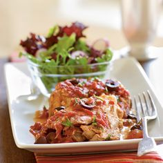 Brown flavorful chicken thighs, then simmer in a slow cooker with garlic, diced tomatoes, and white wine for an Italian-inspired chicken...
