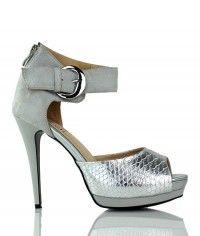 Shoes www.shoeenvy.com.au Copenhagen - Women's silver textured crocodile and grey suede-like sandal high heels $149