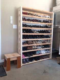 Shoe rack for my  wife. Shoe Storage Shelving, Diy Shoe Storage, Diy Shoe Rack, Garage Shoe Rack, Closet Storage, Shoe Cubby, Garage Storage, Shoe Closet, Furniture Projects