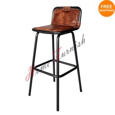 Vintage Style Industrial Bar Counter Stool Leather Seat Restaurant Bar Stools #Handmade #Industrial