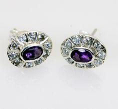#Amethyst Gem Stone 92.5 Sterling #Silver Party Wear #Earring L 0.5in Seame-0217