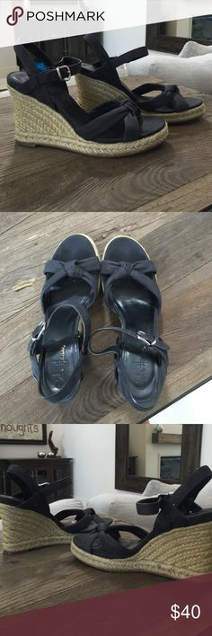 """Cole Haan Wedges with Nike Air Technology Good condition Cole Haan Black Raffia Leather Wedge. Air Cynthia's. Black suede wedge with 4"""" heel. Size 38. Cole Haan Shoes Wedges"""