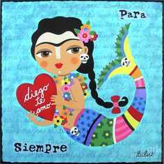 Frida Mermaid With Heart To Diego Painting by LuLu Mypinkturtle