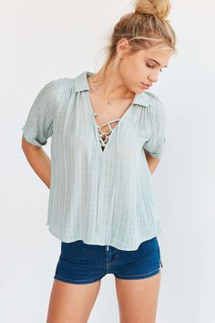 Ecote Lace-Up Blouse #UrbanOutfitters