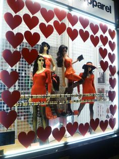 Red Dresses at our Broadway store in New York City.  Display by Frank.  #aastores #AmericanApparel #merchandizing