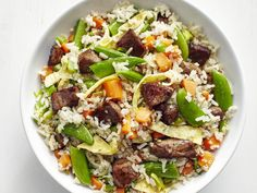 Steak Fried Rice recipe from Food Network Kitchen via Food Network Asian Recipes, Beef Recipes, Cooking Recipes, Healthy Recipes, Cooking Time, Asian Cooking, Tasty Meals, Beef Tips, Whole30 Recipes
