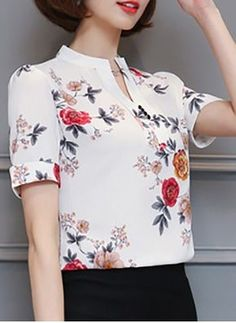 Floral Casual Polyester High Neckline Short Sleeve Blouses