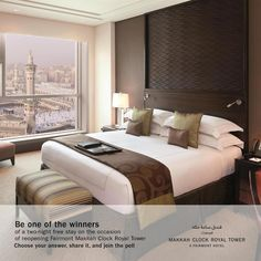 Makkah Clock royal Tower, A Fairmont Hotel , the landmark hotel in Makkah is welcoming you back. We intend to reopen with a boost to reconnect with you. Participate in the competition, pick your answer, mention us and will connect back to announce 3 winners each with a complementary stay. What distinguishes Makkah Clock Royal Tower , A Fairmont Hotel : 1- Kaaba panoramic view 2- Closest to haram , steps away 3- In-house mosque overlooking Kaaba 4- Fairmont Gold Service 5- Safety protocols and m Fairmont Hotel, Landmark Hotel, Mosque, Competition, Connect, Safety, Tower, Clock, Bed