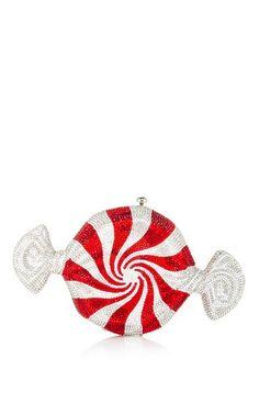 Peppermint candy clutch by JUDITH LEIBER Preorder Now on Moda Operandi