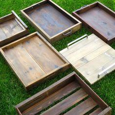 reclaimed wood trays #Home Garden