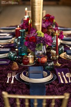 Regal Wedding Theme Regal Wedding Table Setting, Red and Plum Wedding Centrepieces, Fruit Wedding Centrepieces Plum Wedding Centerpieces, Wedding Table Centerpieces, Wedding Table Settings, Wedding Decorations, Purple Table Decorations, Table Wedding, Wedding Reception, Wedding Rings, Jewel Tone Wedding