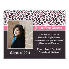 Pink and Brown Leopard Print Graduation Invitation