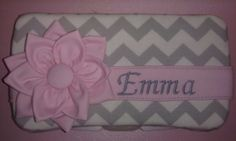 Gray Chevron with Pink Flower Diaper Wipes Case - pinned by pin4etsy.com
