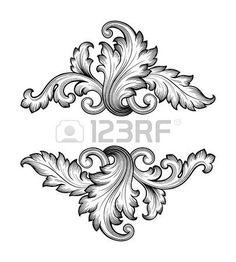 Alte barocke Rahmen Scroll Ornament Gravur Grenze Retro-Muster im antiken Stil Wirbel dekorativ element filigran Vektor photo