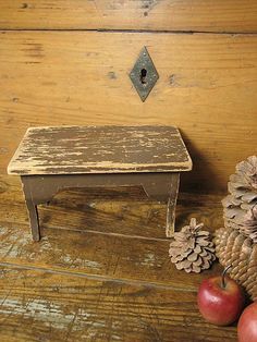 Sweet Small Wooden Primitive Foot Stool - Old Brown Paint   $68