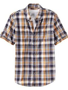 Men's Plaid Shirts | Old Navy Great way to incorporate golden yellow for the men!