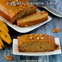 Try this soft, butterless, moist Eggless Banana Cake recipe / Eggless Banana Cake with flavour of banana and the crunchiness of walnuts. Veg Cake Recipe, Eggless Banana Bread Recipe, Eggless Baking, Banana Bread Recipes, Eggless Recipes, Healthy Cake Recipes, Cupcake Recipes, Snack Recipes, Dessert Recipes
