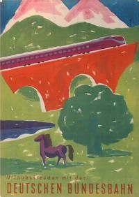 Railway poster: DB - Deutschen Bundesbahn  by Müller   $150