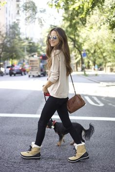 SOREL: How I walk my dog in style :) read more at http://thecut.com http://nymag.com/thecut/2014/09/something-navy-and-sorel.html