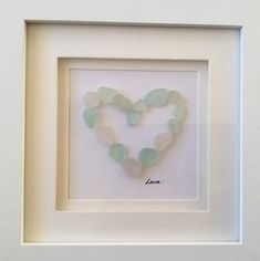 Framed scottish seaglass love heart picture sea glass Sea Glass Crafts, Sea Crafts, Sea Glass Art, Glass Wall Art, Rock Crafts, Sea Glass Jewelry, Jewelry Art, Jewellery, Driftwood Crafts