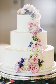Wedding cakes with cascading flowers