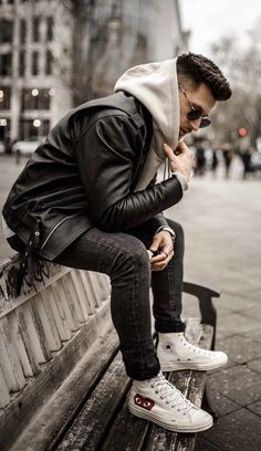 - with a monochrome fall outfit with a black leather jacket gray hooded sweatshirt black skinny denim white converse chuck taylor comme des garcons high tops Leather Jacket Outfits, Men's Leather Jacket, Leather Jackets, Black Jackets, Smart Casual Outfit, Men Casual, Streetwear, Outfits With Converse, White Converse