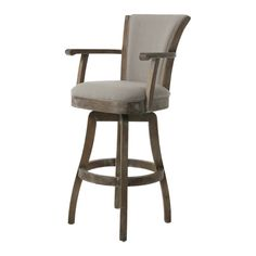 The Glenwood Barstool with arms is a beautifully made barstool that has a simple yet elegant design that is perfect for any decor. An ideal way to add a classic flair to any dining or entertaining area in your home. This swivel barstool features a quality wood frame with sturdy legs and foot rest finished in natural distressed. The padded seat is upholstered in my putty ivory offering comfort and style.