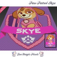 Paw Patrol Skye crochet blanket pattern; c2c, cross stitch; graph; pdf download; no written counts or row-by-row instructions by TwoMagicPixels, $3.99 USD
