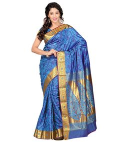 c0ec5c64461730 Blue Colour Art Silk Designer Rich Zari Pallu Saree by Vintage Weaves