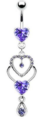 "14g Dangling Purple Gem Heart Sexy Belly Button Navel Ring Dangle Body Jewelry Piercing with Surgical Steel Bar 14 Gauge 3/8"" Nemesis Body JewelryTM:Amazon:Everything Else"