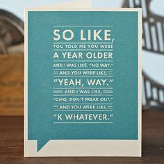 funny birthday card for teens - Google Search