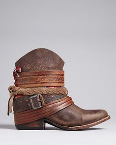 OHMYLORD. I need these!!!!!!!!! FREEBIRD by Steven Western Booties - Mezcal Strapped | Bloomingdale's