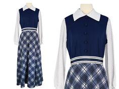 60s Maxi Dress, 1960s Dress, 60s Blue Plaid Maxi Dress, School Girl Dress, Preppy Dress, Plaid Dress, Long Sleeve Dress, Medium Size 6/8/10