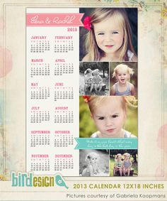 INSTANT DOWNLOAD 2013 Calendar photoshop template por birdesign