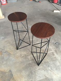 Modern Steel Stool with Walnut Seat by PWHFurniture on Etsy