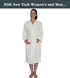 NDK New York Women's and Men's Terry Cloth Kimono Bath Robe Unisex 100% Cotton, White, L/XL. This unisex 100% cotton robe is a terry cloth (terrycloth) bath robe suitable for both men and women. Popular with our spa buyers. The bathrobe's terry with loops provide maximum absorption. The 4 track stitching on facing, cuffs and pockets provide extra elegance. The normal weight in market is aprrox 10 oz terry. Our heavier weight provides better absorption and a plush look and feel. This bath...