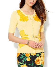 Another great find on #zulily! Lively Yellow Lace-Accent Chelsea Cardigan #zulilyfinds