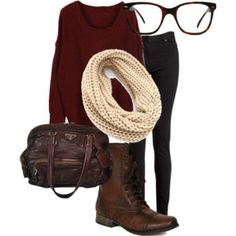 Maroon sweater and cream infinity scarf outfit. A so me outfit Stylish Winter Outfits, Fall Winter Outfits, Autumn Winter Fashion, Summer Outfits, Casual Outfits, Converse Outfits, Autumn Casual, Winter Shoes, Looks Style