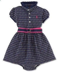 Ralph Lauren Baby Girls Dress, Baby Girls Printed Dress - Kids Newborn Shop - Macy's