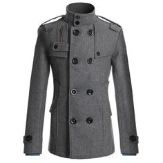 Men's Fashion British Style Coat Solid Color Woolen Double Breasted Casual Long…