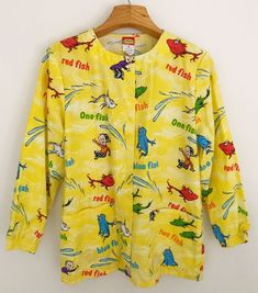 DR SEUSS Womens Scrub Top Jacket Long Sleeve Size XS One Fish Two Fish Yellow   Clothing, Shoes & Accessories, Uniforms & Work Clothing, Scrubs   eBay!
