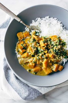 Creamy Thai Sweet Potato Curry - packed with nutrition! our favorite easy, healthy, winter comfort food recipe. vegetarian and vegan.   pinchofyum.com