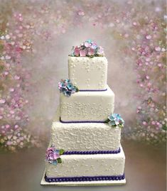 White Square Tiers with Purple Accents - cake by MsTreatz Beautiful Cakes, Amazing Cakes, Zoes Fancy Cakes, Cake Central, Purple Accents, Cake Boss, Sweet Cakes, Wedding Beauty, Shower Cakes