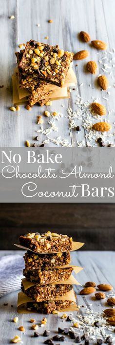 No Bake Vegan Chocolate Almond Coconut Bars from my newly released ebook Grab-n-Go Snacks: healthful eats for crazy busy days . Quick and easy, have on the ready when you are! GF