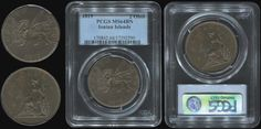 "2 obols (1819) with ""seated Britannia"" in copper. In slab by PCGS ""MS 64 BN"" (Hellas I.18) Almost Uncirculated & Uncirculated"