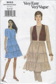 PLUS SIZES VOGUE SEWING PATTERN 1428 MISSES 16-24 FLARED DRESS W// LACE BODICE