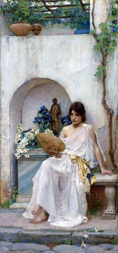 John William Waterhouse (English Pre-Raphaelite painter) 1849 - 1917, Flora, 1891, oil on canvas , 33 x 73 cm. (13 x 28.7 in.), signed l.r.: J. W. Waterhouse  private collection