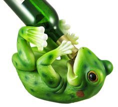 """Frog Grog"" Frog Figurine Wine Bottle Holder - The Gadget Experience"