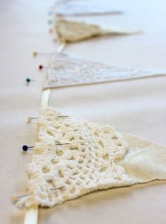Linen & Lace Wedding Bunting. Could use burlap instead of linen. Doilies could be stained & it wouldn't matter!