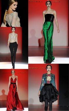 Hannibal Laguna  Aunque el diseñador ha querido mostrar en su colección la fusión del barroco y el rock, confieso no haberla encontrado. Sí he visto sin embargo largos vestidos de seda brillante verde que me han trasportado a otras épocas, rojos de infarto, y una salida de pantalón interesante -> http://chezagnes.blogspot.com.es/2013/02/mercedes-benz-fashion-week-dia-1.html (#MBFWM)